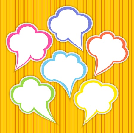 think big: Set of colorful speech bubbles with smooth transparent shadow Illustration