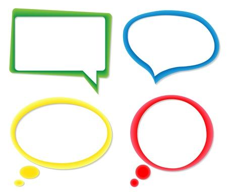 Juego de las burbujas del discurso de colores Ilustración de vector