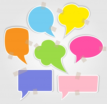 Set of colorful speech bubbles with smooth shadow