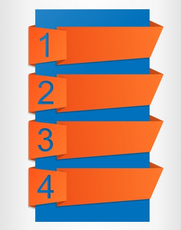 Origami label set with numbers from 1 to 4 Vector