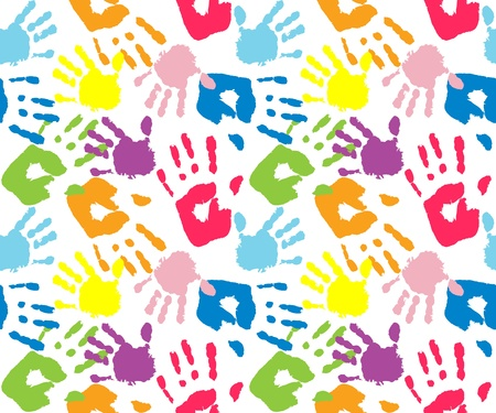 hand prints: Kids and mother handprint, seamless pattern Illustration
