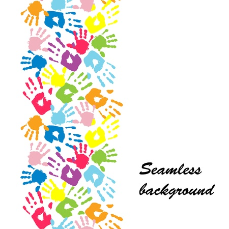 thumb print: Mother s and kid s hands, seamless border background Illustration