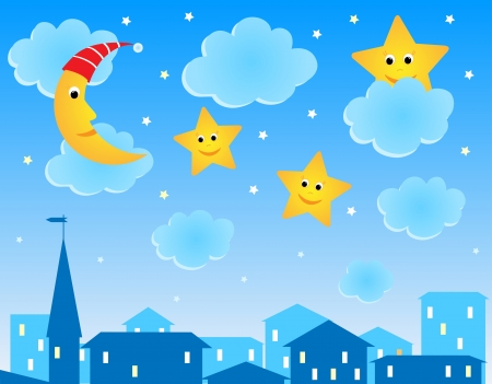 Cute illustration of night roofs, moon and funny stars Vector
