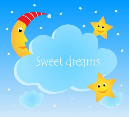 lullaby: Tarjeta linda divertida con la luna y las estrellas Vectores