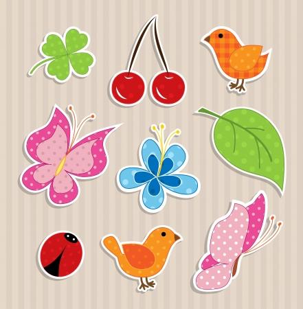 Scrapbook elements - nature textile stickers Vector