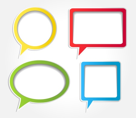 think green: Colorful speech bubbles vector set