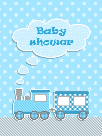 baby stickers: Baby shower for boy with scrapbook elements Illustration