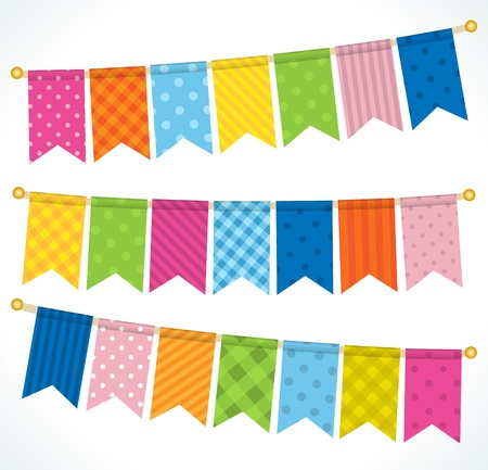 a pink cell: Vector bunting flags