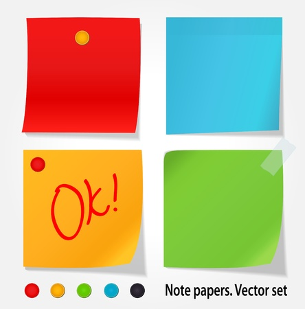 Colored note papers set Stock Vector - 14365351