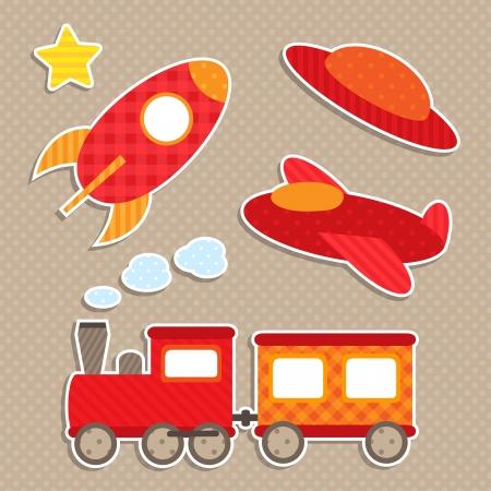tren caricatura: Juego de pegatinas de transporte lindos colores Vectores