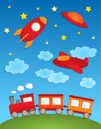 tren caricatura: Fondo con aviones de papel y pegatinas de tren Vectores