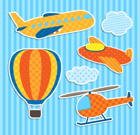 aerostat: Set of cute vector colorful aircraft stickers