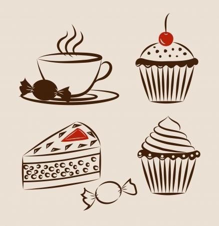 застекленный: Сладкое печенье установить с чашкой горячего напитка Иллюстрация