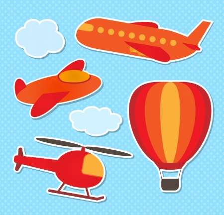 Set of cute colorful aircraft stickers Stock Vector - 14585170