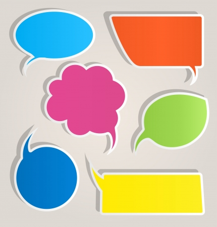 message bubble: Colorful paper speech bubbles