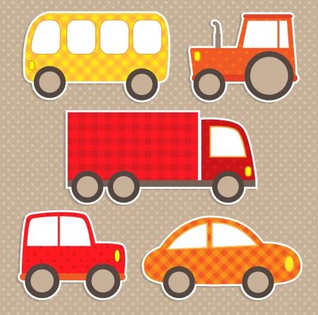 yellow tractor: Juego de pegatinas de colores lindos transporte Cars Vectores
