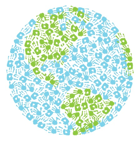 wereldbol groen: Earth globe gemaakt van handafdrukken kind en moeder s Noord-en Zuid-Amerika