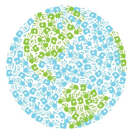 earth in hand: Globo de la tierra a partir de huellas de manos ni�o y de la madre s s del Norte y Am�rica del Sur Vectores