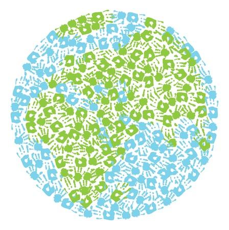 Globe terrestre fabriqué à partir empreintes enfant et de la mère s Afrique et en Eurasie Banque d'images - 14790856