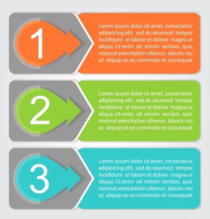 flechas: Uno, Dos, Tres etiquetas de progreso con flechas