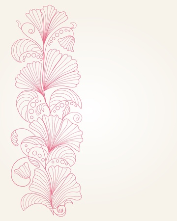 Pink hand drawn floral background Vector