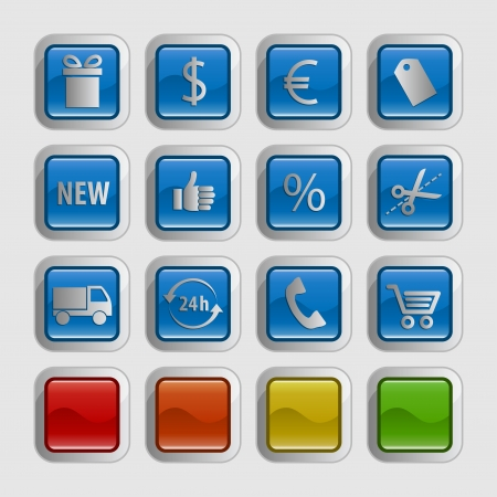 Glossy shopping icons   button, 5 different colors Vector