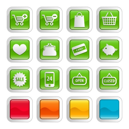 add button: Glossy e commerce and shopping icon  button sets, 5 different colors Illustration