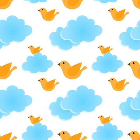 Seamless pattern with bird and clouds Vector