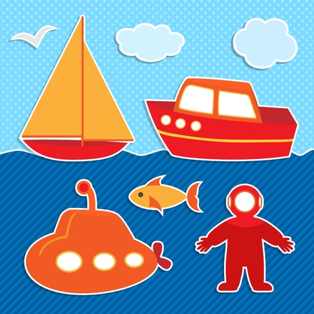 Set of cute colorful ships stickers and diver Vector