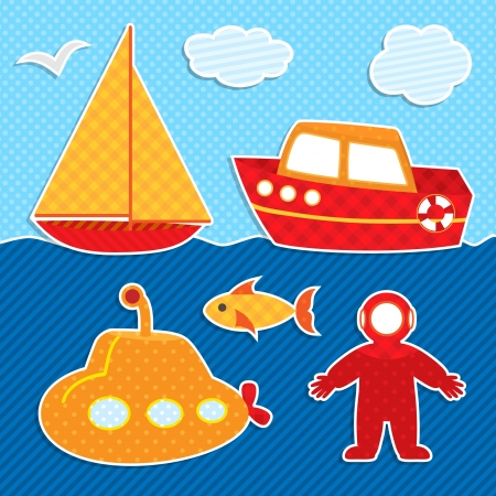 Set of cute colorful stickers  Ships and diver  Vector