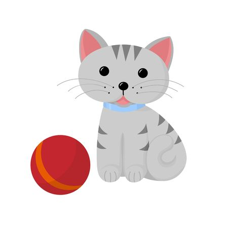 A cute striped cat and a ball  Funny cartoon and animal character, isolated objects  Vector