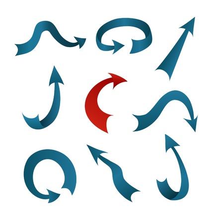 krökt: en samling av blå och röda pilarna Illustration