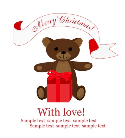 Christmas background with teddy bear and gift box Vector
