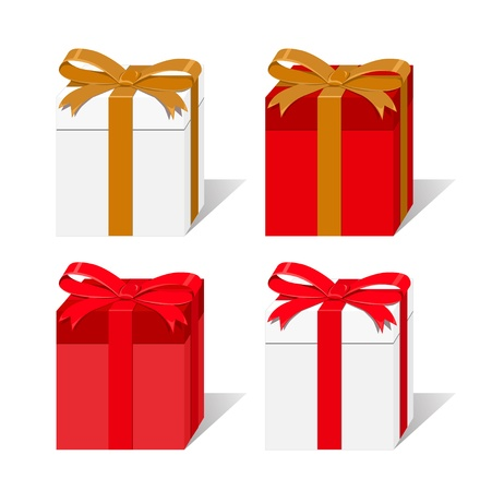 Set of white and red gift boxes isolated on white background Stock Vector - 15021088