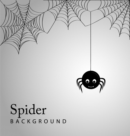 cartoon bug: Cute spider and webs over gray background