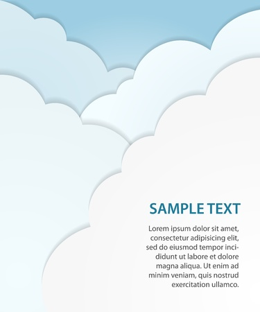 Paper cloud background, vector Vector