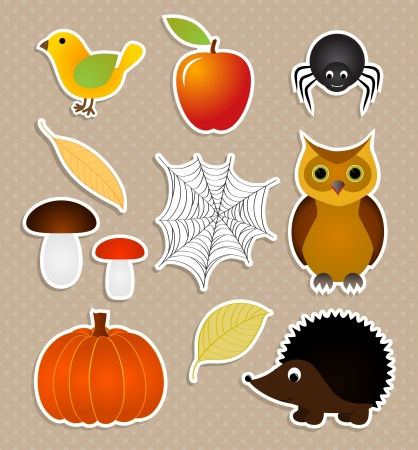 hedgehog: Autumn nature stickers set, vector