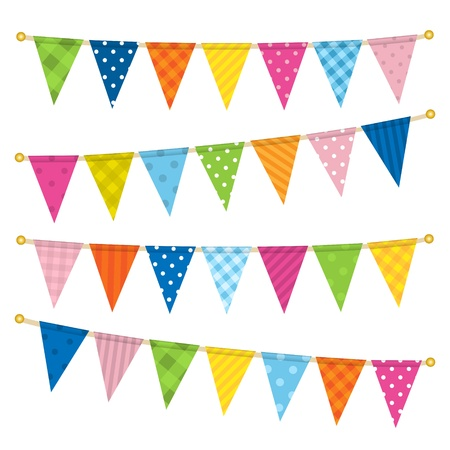 bright borders: Vector triangle bunting flags Illustration