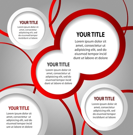 poster concepts: Red and white abstract banners on striped gray background, vector