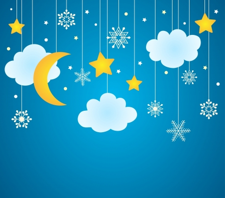 Vector blue background with hanging clouds, moon, stars and snowflakes  christmas card