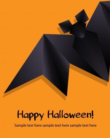 halloween bats: Black origami bat on orange background  Halloween background