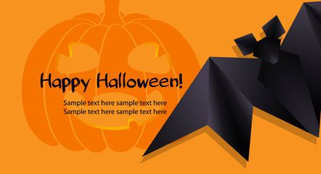 Halloween background with funny pumpkin and black origami bat Vector
