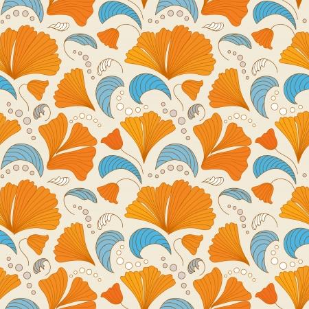 scrapbook elements: Orange and blue seamless floral pattern
