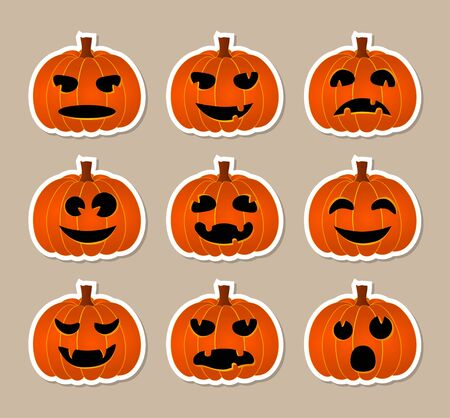 Halloween stickers - pumpkins with different emotions Vector