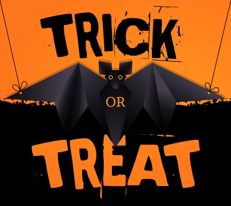 trick or treat: Hanging origami bat and Trick or Treat Halloween text