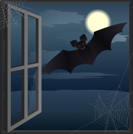 abandoned house: Bat flies toward the open window abandoned house  Halloween background