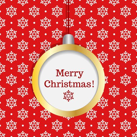 Hanging christmas decoration with merry christmas text on seamless snowflake background Vector