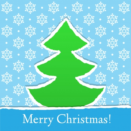 Christmas card with snowflakes and paper tree, vector Vector