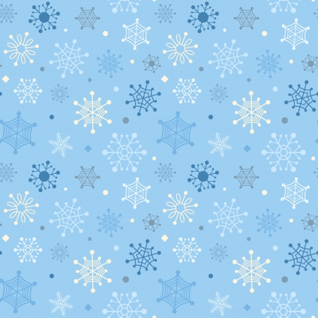 Winter seamless background with color snowflakes Vector