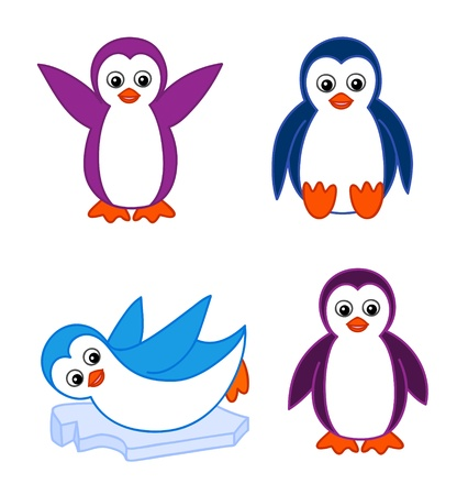 Collection of cute cartoon penguins Vector